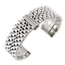 22mm srebrny/czarny zegarek ze stali nierdzewnej zespół składane zapięcie z bezpieczeństwa stałe zegarki pasek dla mężczyzn zegarek bransoletka zamienna