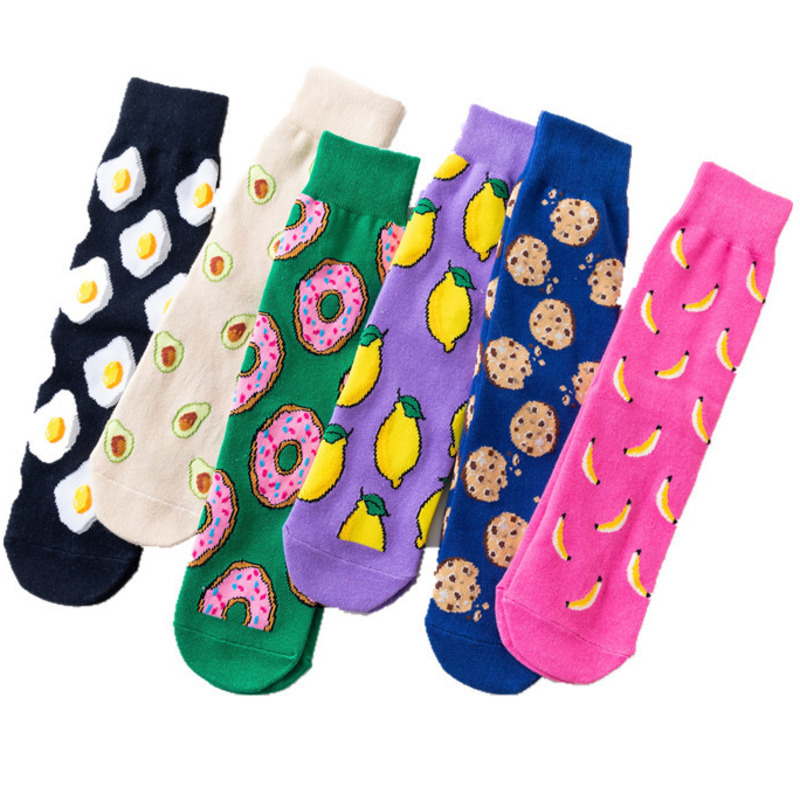 Women   Socks   Funny Cute Cartoon Fruits Banana Avocado Lemon Egg Cookie Donuts Food Happy Japanese Harajuku Hip Hop Cotton   Socks