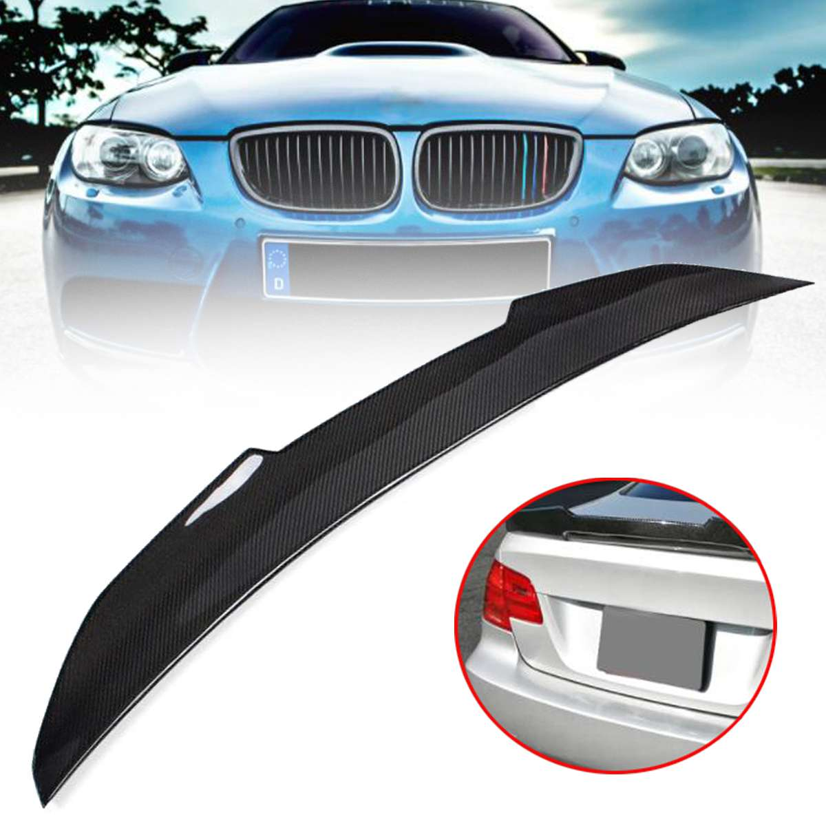 High quality Real Carbon Fiber Trunk Spoiler Wing PSM Style Highkick For 07 12 for BMW E92 335i 328i 3 SERIES 2 DOOR COUPE