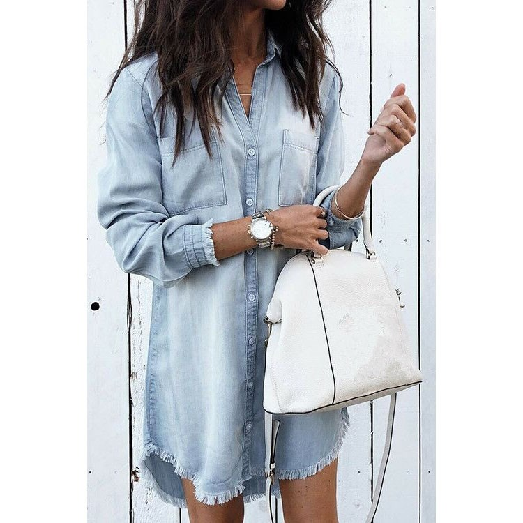 Women Tassel Denim Shirt 2