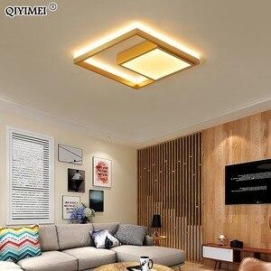 Image 5 - Kare Led tavan ışıkları oturma odası yatak odası uzaktan kumanda Lamparas De Techo Moderna altın kahve çerçeve ev armatürleri
