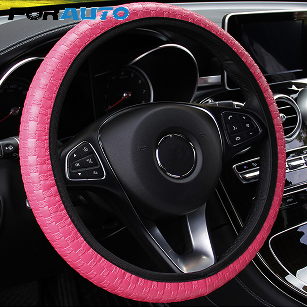 FORAUTO Car Steering Wheel Cover Leather Knit Texture Elastic Universal Steering Covers Car-styling Auto Decoration Accessories