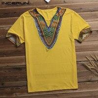 Streetwear Dashiki Arab T shirt Men T Shirt V Neck Short Sleeve Tribal Succinct Camisa Hombre African Men Clothes Big Size 5XL