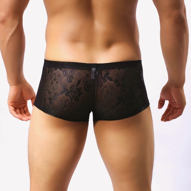 Boxers Shorts Underwear Panties U-Convex-Pouch Lace Sexy Breathable Gay Marca Men