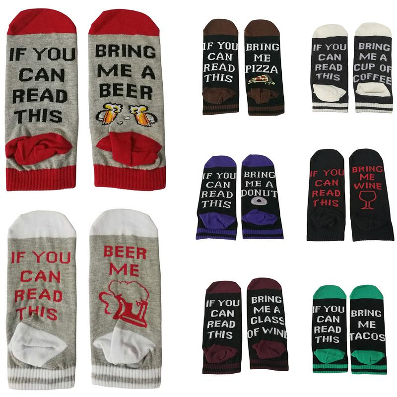 Womens If You Can Read This Crew Socks Funny Saying Beer Wine Coffee Donut Gift