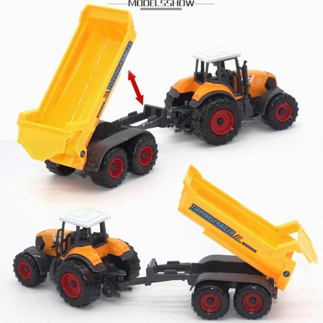 2018 Baru 6 Pcs 1: 64 Logam Logam Diecast Bermain Set Kendaraan Petani Traktor Model Trailer