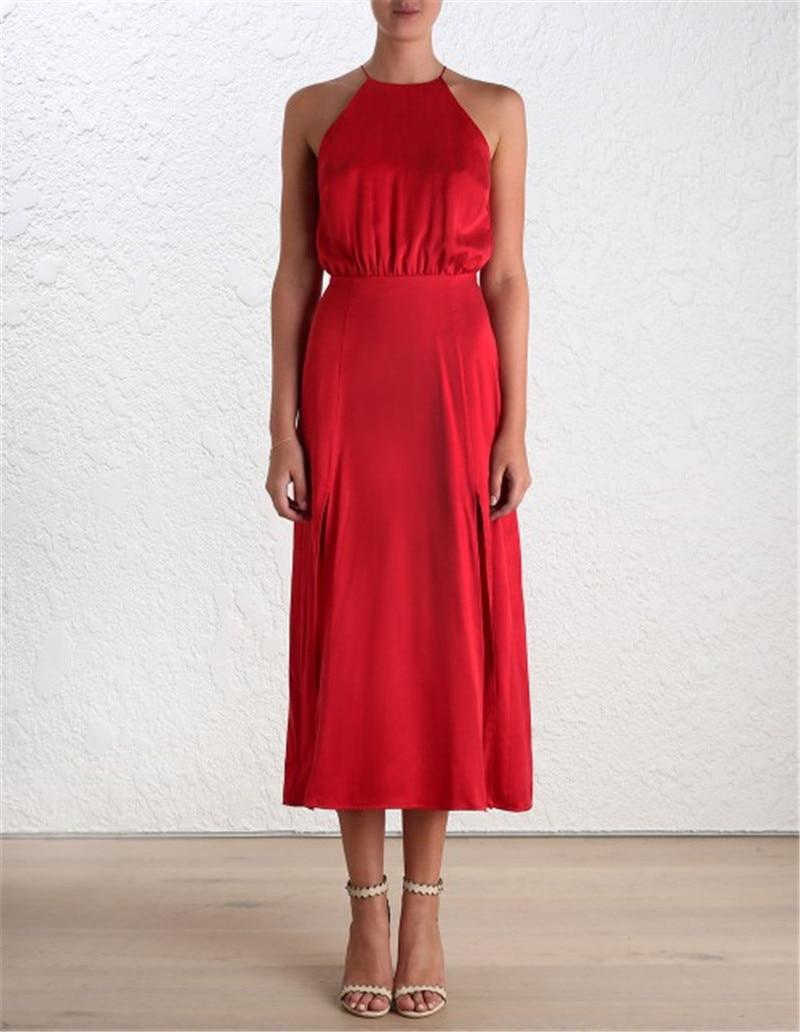De Côté Élégante Printemps 2019 Robes pink Spaghetti Halter Backless Sexy Soirée Vêtements Femmes Split gold red Femme Midi Robe Strap Black Nouveau CZxx0Ywq
