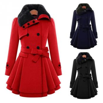 Winter Fashion Women Casual Double Breasted Thick Woolen A-line Coat Buttoned Turn-down Collar Overcoat With Belt overcoat