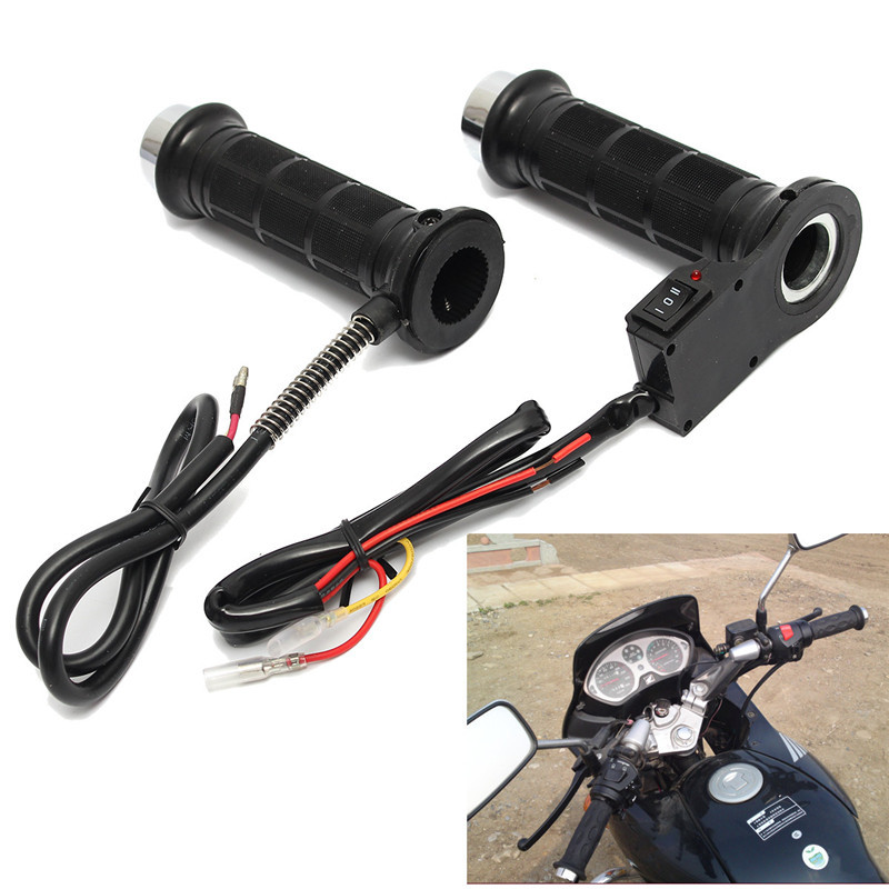 Set Black Motorcycle 7/8 Inch 22mm Electric Hand Heated Molded Grips ATV Warmers Hot Handlebar