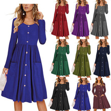 1 X Long Sleeve O-Neck Pockets Button Women Summer Autumn Midi Shirt Dress Sexy Casual A-Line Beach Sundress Ladies Dress forudesigns women wholesale ocean animal beach dress summer casual sundress o neck short sleeve sexy midi t shirt dress s m l xl