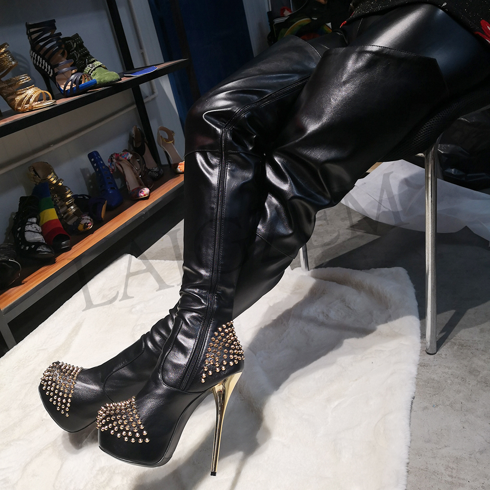 WOMENS LADIES HIGH HEEL STUDDED STRETCH OVER THE KNEE POINTED THIGH BOOTS SIZE