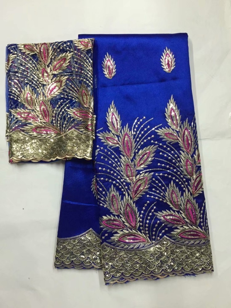 2018 New Arrival Blue African George Lace Fabric With Net Blouse Lace Nigeria Embroidery Wedding Fabrics