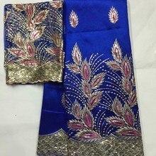 Новое поступление! Синий африканский Джордж кружевной ткани с блузка в сетку кружева Нигерия вышивка ткань для свадебных платьев для Индии женщин