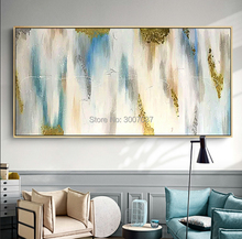 Hand painted Modern Abstract canvas Paintings gold blue Oil Painting picture Living Room home Decoration wall paintings