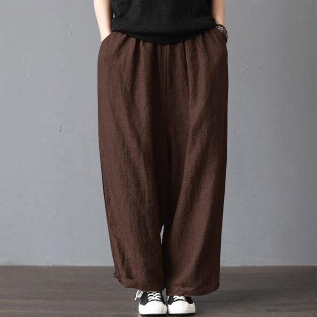 2018 las mujeres pantalones largos de algodón de lino de ancho de la pierna  pantalones con 6ea25148bcbf
