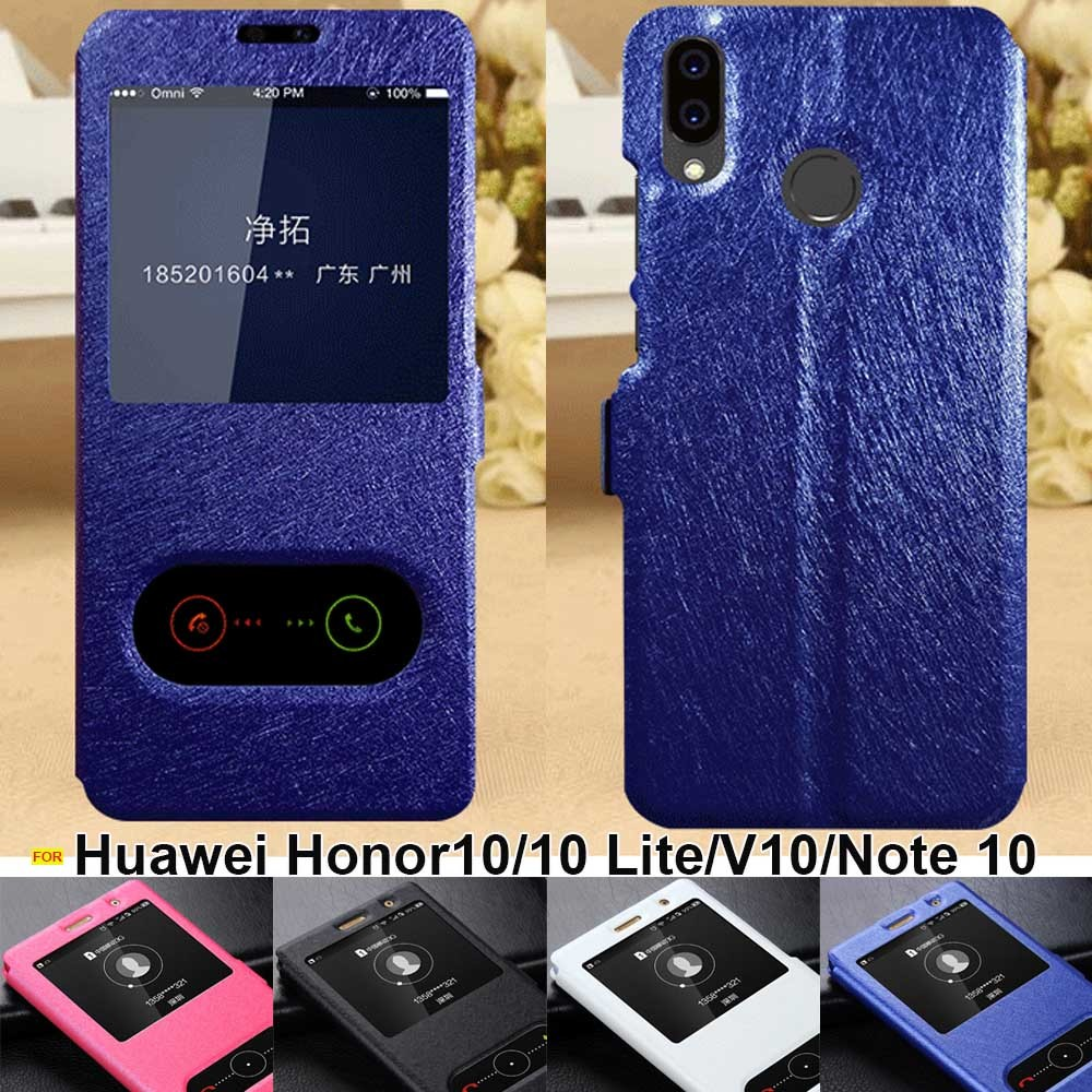 Huawei Honor 10 Case Lite Cover Window View Leather Stand Flip For V10 Note Cases