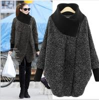 2019 autumn and winter women's jacket high collar solid color scarf collar loose wool coat bat sleeve coat plus size