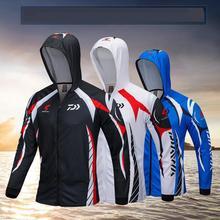 Для мужчин брендовая Рыбалка Костюмы Защита от ультрафиолетовых лучей с капиллярами для отвода влаги дышащий с длинным рукавом Рыбацкая рубашка с капюшоном Camisas Pesca