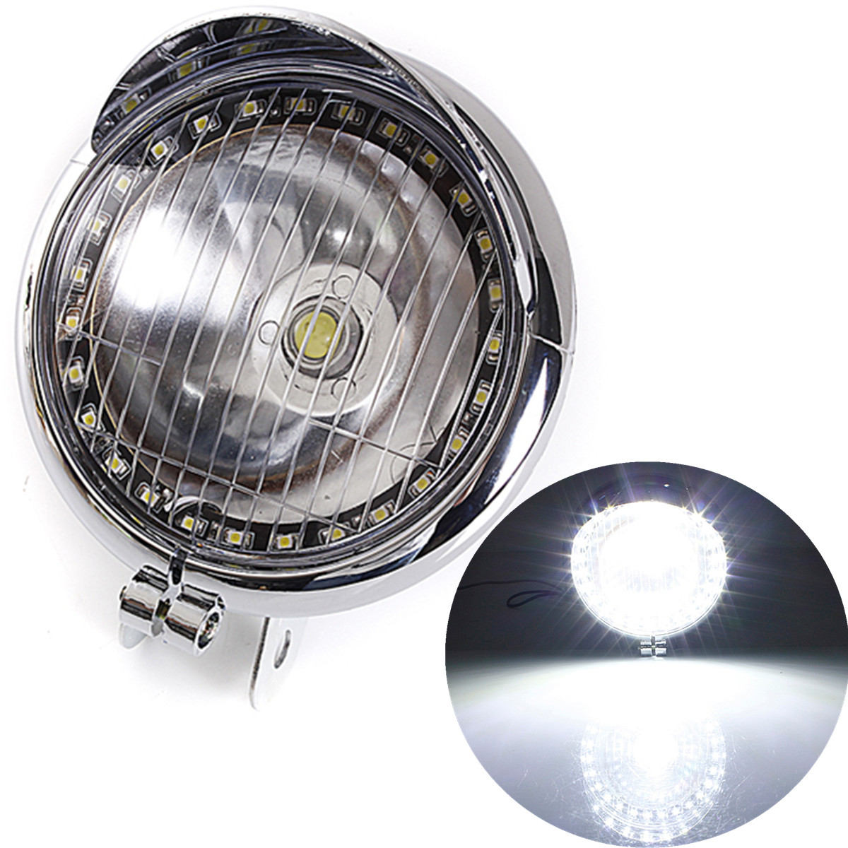 White 27 LED Motorcycle Angel Eye Headlight fog Lamp for Harley Chopper Bobber Cruiser Simple installation Headlights