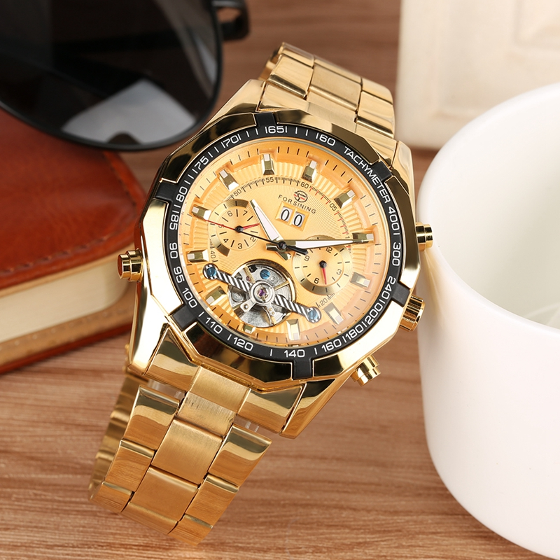 FORSINING Automatic Chronograph Unique Gold Mens Mechanical Skeleton Wrist Watches Top Brand Luxury Clock Male Reloj Hombre 2019-in Mechanical Watches from Watches    1