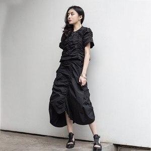 Image 2 - CHICEVER Summer Vintage Irregular Draped Solid Women T shirt O Neck Short Sleeve Loose Slim Female Top Clothing 2020 Korean New