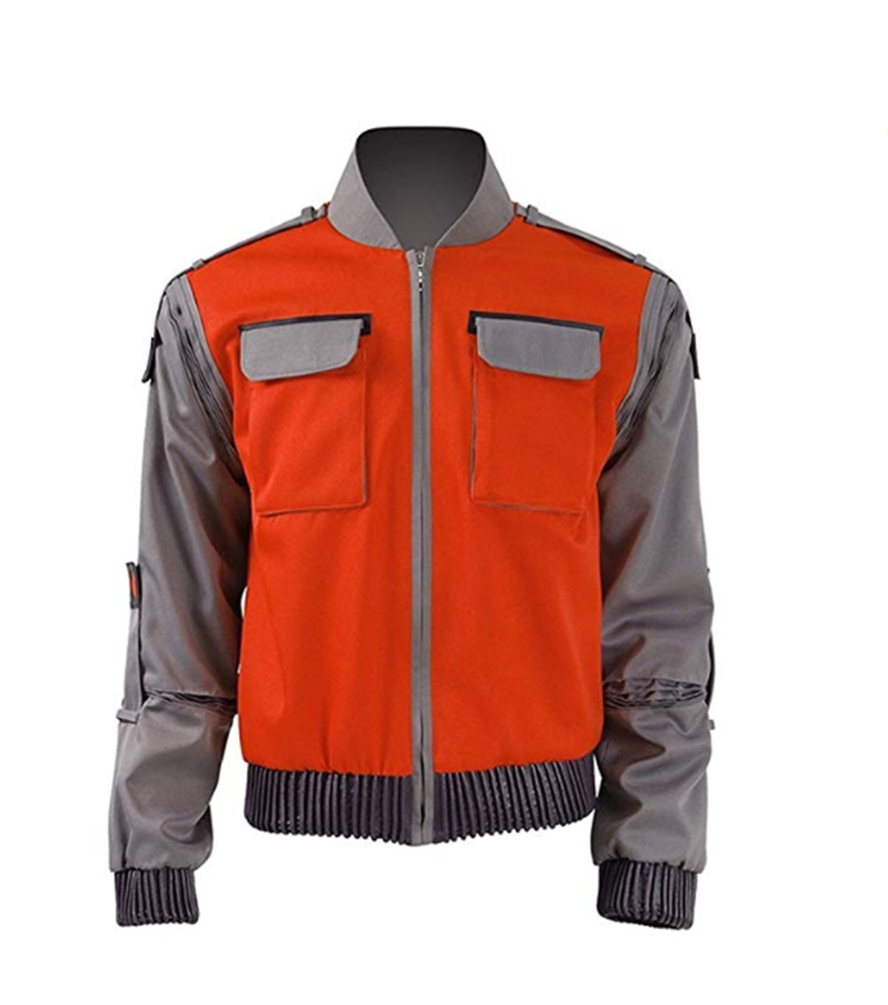 High quality Back To The Future Cosplay Costume Jr Marlene Seamus Marty Mcfly Jacket Orange Outwear