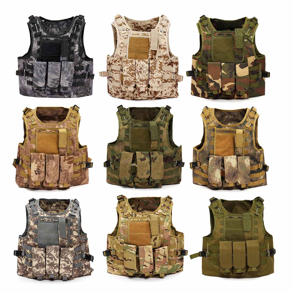 Adjustable Tactical Military Vest Army Paintball Airsoft Combat Assault Army Training Combat Uniform Hunting Camouflage Vest