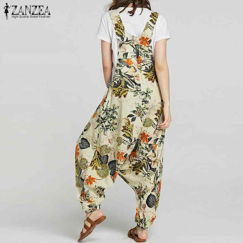 2020 Zomer Zanzea Rompertjes Womens Jumpsuit Vintage Bloemenprint Drop-Kruis Lange Combinaison Femme Casual Baggy Dames Jumpsuits