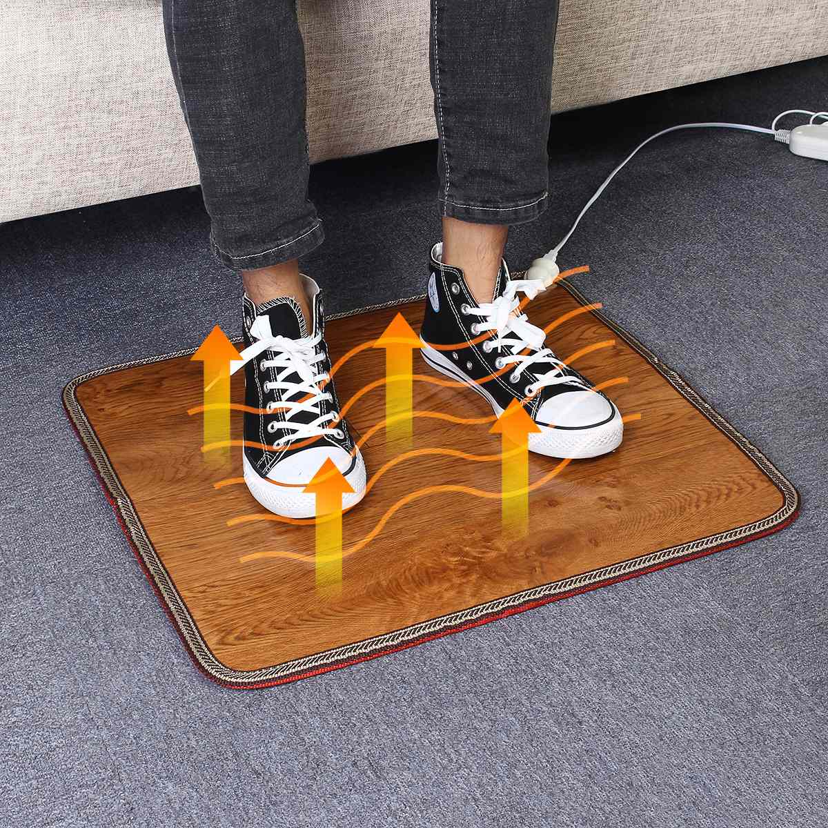 60W 220V 3 Sizes Office Heating Foot Mat Warmer Leather Electric Heating Pad Warm Feet Thermostat Carpet Household Warming Tools