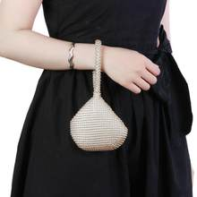 Golden Metal Women Clutch Bags Handbags Ladies Small Fashion Day Clutches Pearl Beaded Purse for Dinner Party Metallic Handbags(China)