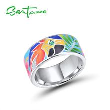 SANTUZZA Silver Rings For Women 925 Sterling Silver White CZ Handmade Enamel Lovely Parrot Unique Ring Party Fashion Jewelry