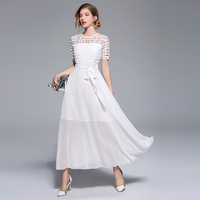 JOEYOUNG Spring New Women's Lace Dresses Floral Crochet Hollow Out Vestido Casual Slim Office Party Long Dress