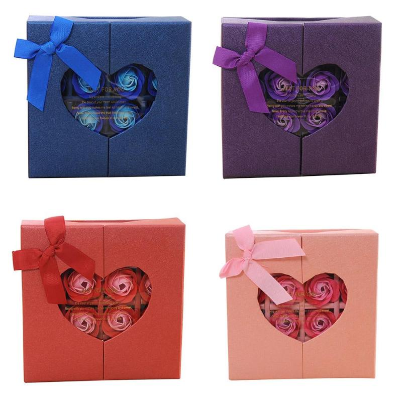 16pcs/Box Rose Flower Scented Soap Bath Body Petal Perfumed Soaps Valentine Day Gift Wedding Party Decoration With Box