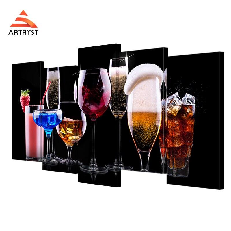 5 panelů modulární nástěnné umění sklo nápoj koktejl kniha obrázek tisk na plátno moderní domácí výzdoba plátno malování pro obývací pokoj