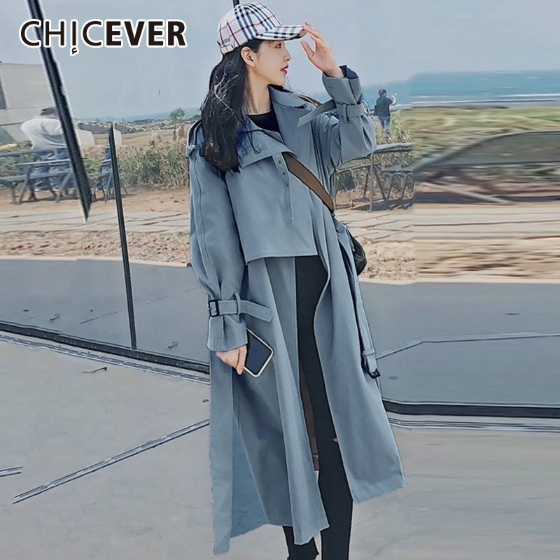 CHICEVER Autumn Women's Windbreaker Lapel Long Sleeve Bandage Casual Loose Long   Trench   Female Coat 2018 Korean Fashion Clothing