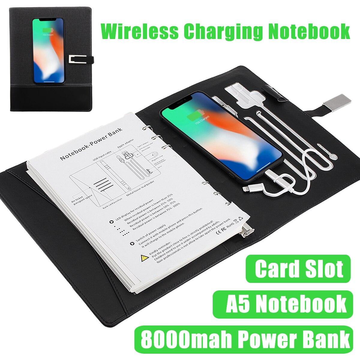Banco de potencia portátil Multi-funcional portátil con 8000 mAh banco de potencia de carga inalámbrico Qi nota libro Binder espiral libro diario