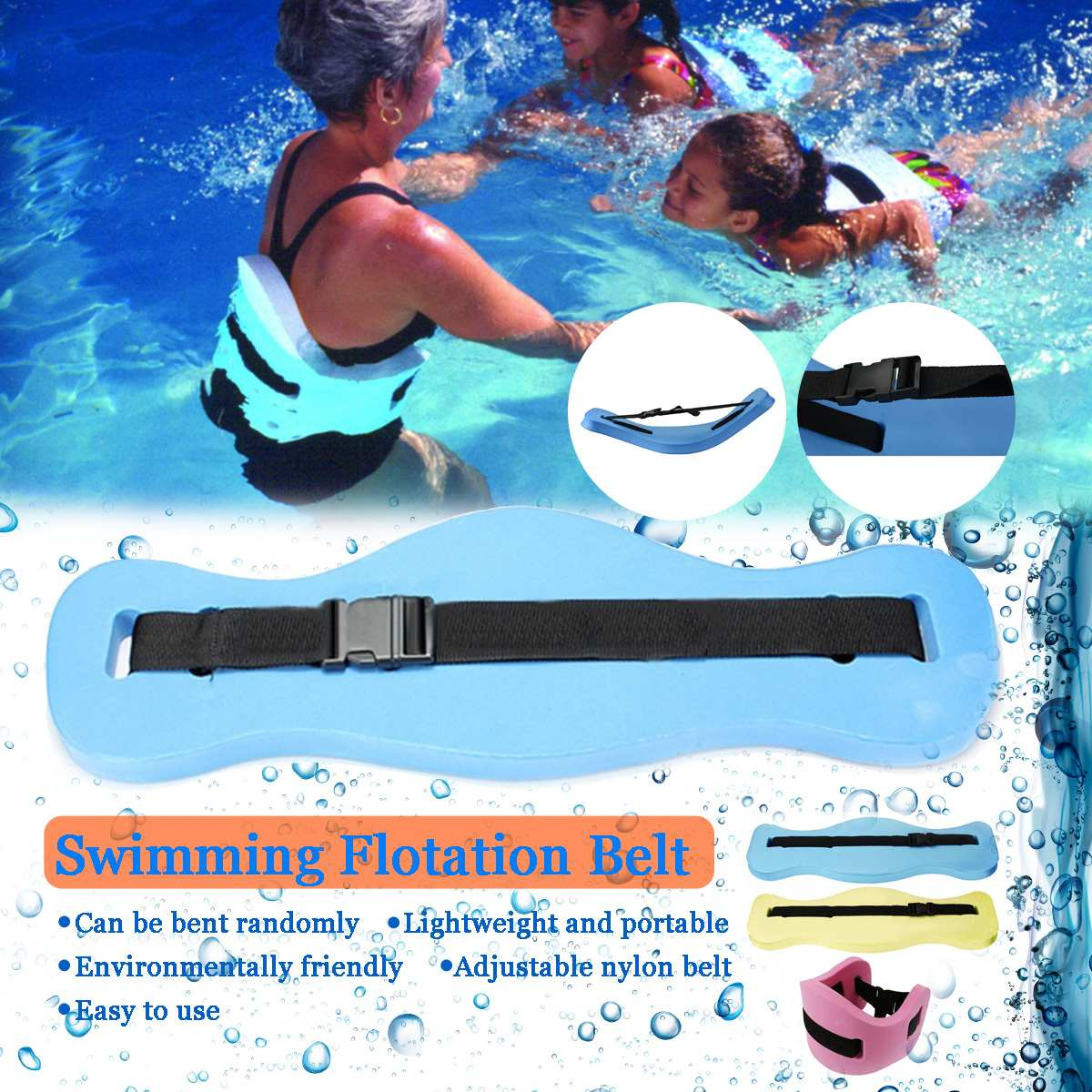SGODDE 3 Colors Adjustable  Floating Foam Swimming Belt Waist Training Equipment Adult Children To Swim Children Adult Safety
