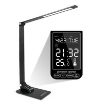 LED Desk Lamp Foldable Dimmable Touch Table Lamp with Calendar Time Alarm Clock table Light Wireless Charger / USB Charging Port