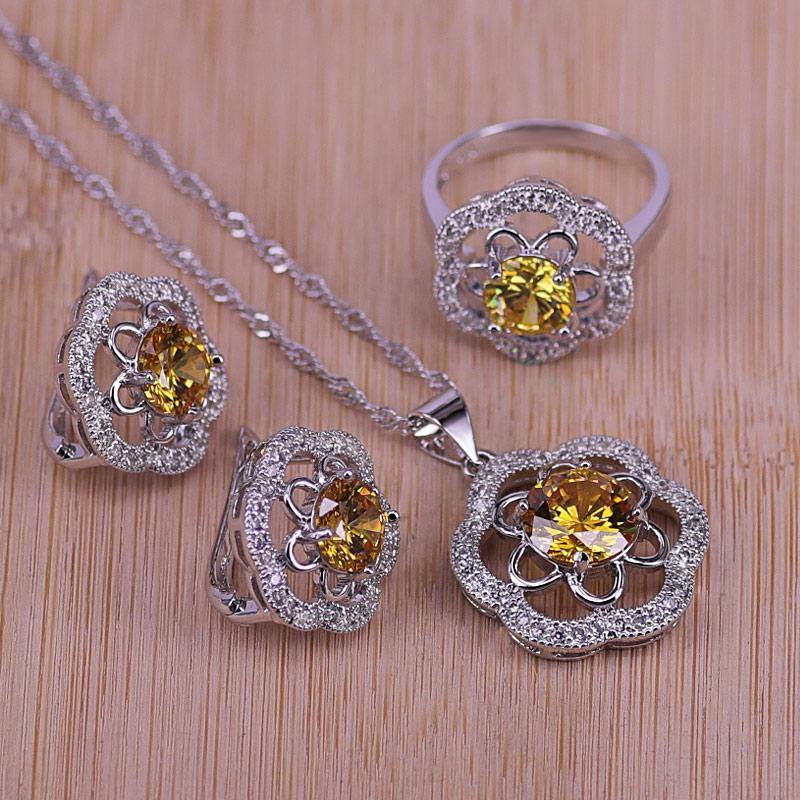 תכשיטי חתונה המתנה הטובה ביותר עבור נשים כסף צבע תכשיטי סט וגרם צהוב קריסטל שרשרת תליון עגילי טבעת