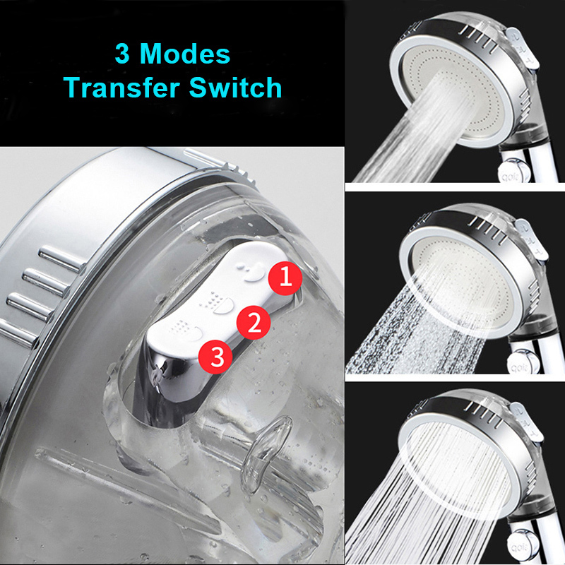Wholesale 3 Function SPA Shower Head Stop Switch Bathroom Adjustable Water Saving Spray ABS Anion Filter Showerheads - 2