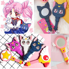 Anime Sailor Moon Luna Cat Ungu Membuat Cermin Handle Gadis Portable Alat Peraga Cosplay Moonlight Memori Seri Kristal Bintang Cosmet(China)