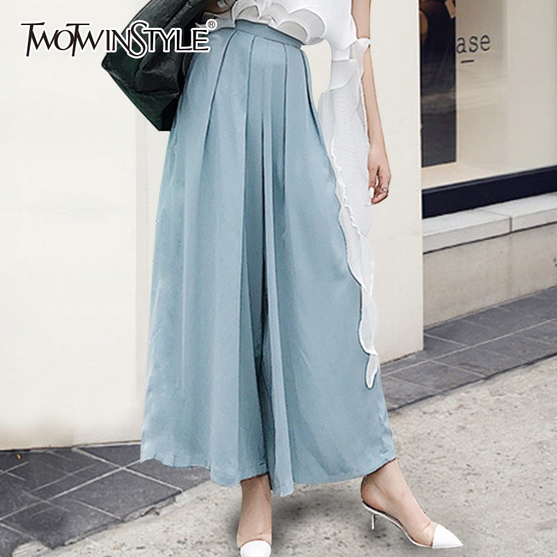 TWOTWINSTYLE Wide Leg Pants Female High Waist Loose Oversized Ankle Leather Trousers For Women 2019 Spring Korean Fashion New