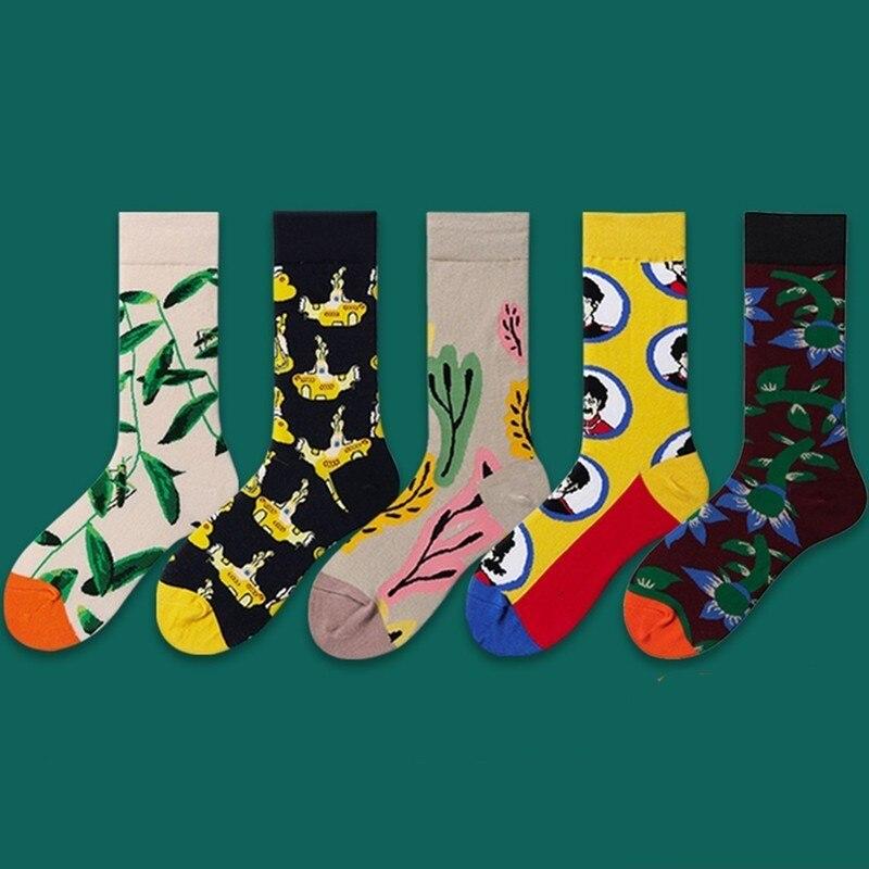 Men's Socks Humble Peonfly 1 Pair Colorful Combed Cotton Socks Shark Skull Pattern Long Happy Men Socks Novelty Skateboard Crew Casual Crazy Socks Relieving Heat And Sunstroke