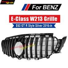 For Mercedes W213 E Class Sport GT R style Grille grill ABS Silver With camera E200 E250 E300 E350 E400 E500 E53 look grills 16+