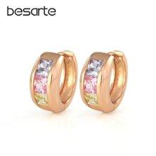 Серьги кольца женские маленькие золотистые с фианитами e1934