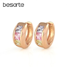 Hoops Gold-color Hoop Earrings For Women Bijoux Boucle Brincos Ouro Aros Zircons Crystal Jewelry CC Earings Fashion EH1834