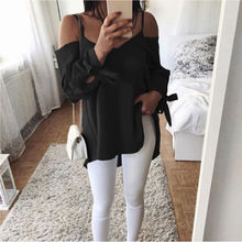 Women Off Shoulder Blouses Stylish V-neck Strap Loose Tops 2019 Summer Fashion 5XL Plus Size Lace UP Long-Sleeve Casual Shirt stylish scoop neck long sleeve lace up knitwear for women