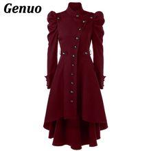 Genuo, осенне-зимний женский плащ, Женское пальто, ветровка, женское длинное пальто на пуговицах, элегантное винтажное готическое платье, верхняя одежда