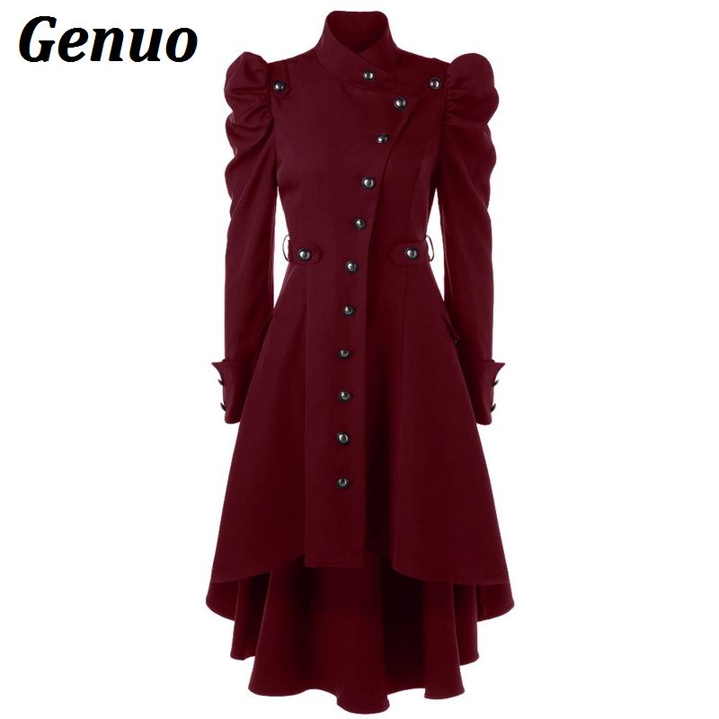 Genuo Winter Autumn Women   Trench   Coat Women's Overcoat Windbreaker Female Long Coat Button Elegent Vintage Gothic Dress Outwear