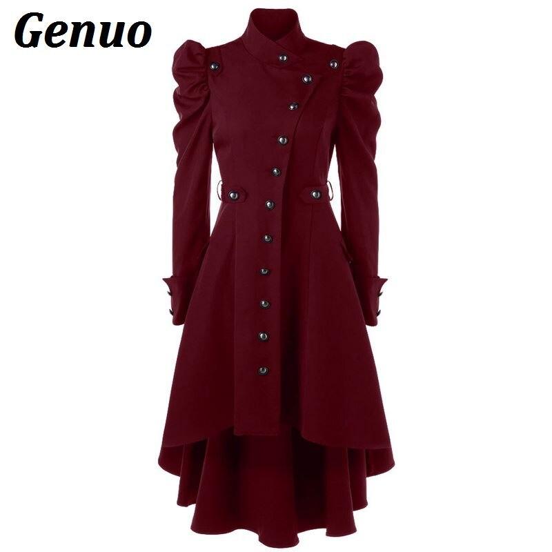 Genuo Winter Autumn Women Trench Coat Women's Overcoat Windbreaker Female Long Coat Button Elegent Vintage Gothic Dress Outwear